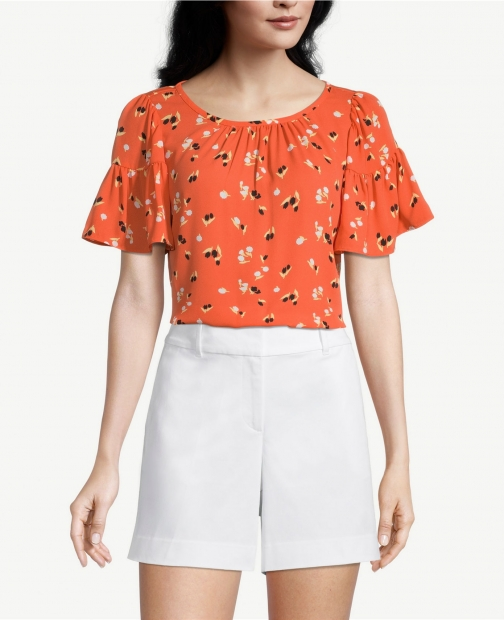 Ann Taylor Factory Petite Floral Mixed Media Flare Sleeve Top
