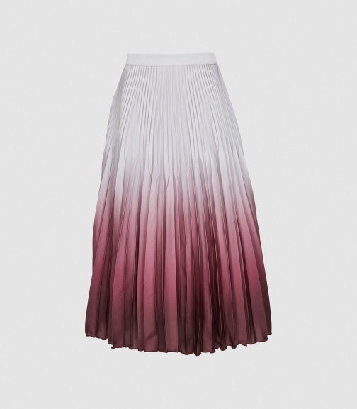 Reiss Marlie - Ombre Pleated Silver, Womens, Size 4 Midi Skirt