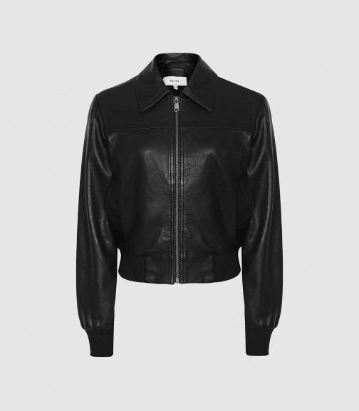 Reiss Krishna - Leather Black, Womens, Size 4 Bomber Jacket