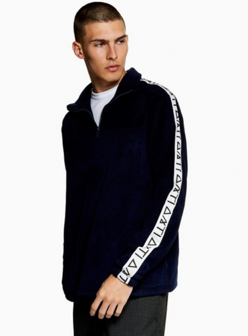 Topman Mens Navy ANTIOCH Quarter Zip *, Navy Fleece