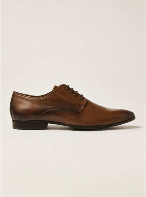 Topman Mens Brown Tan Leather Fly Derby , Brown Shoes