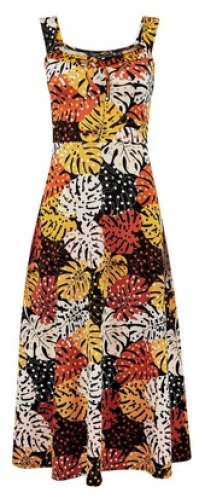 Dorothy Perkins Multi Coloured Leaf Print Ruffle Midi Dress