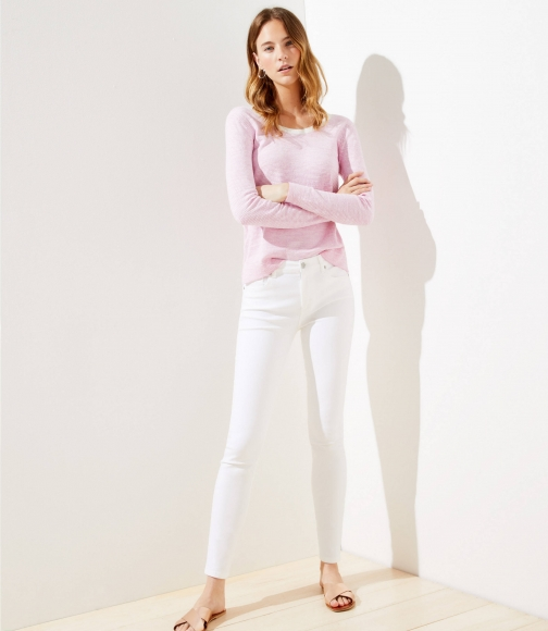 Loft Petite High Rise Slim Pocket White Skinny Jeans