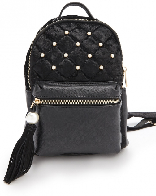 Forever21 Forever 21 Faux Pearl Accent Black Backpack