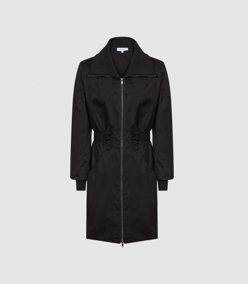 Reiss Greta - Zip-through Utility Black, Womens, Size 4 Dress