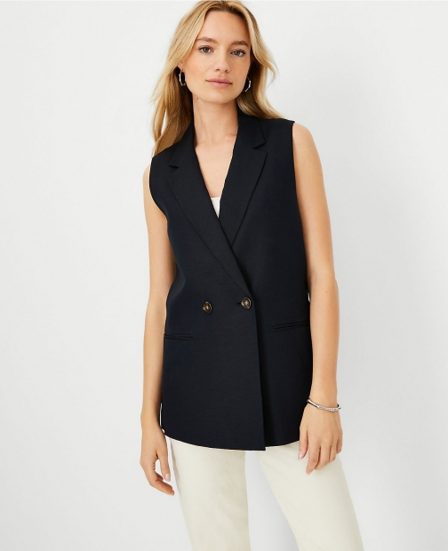 Ann Taylor Linen Blend Relaxed Double Breasted Vest Top