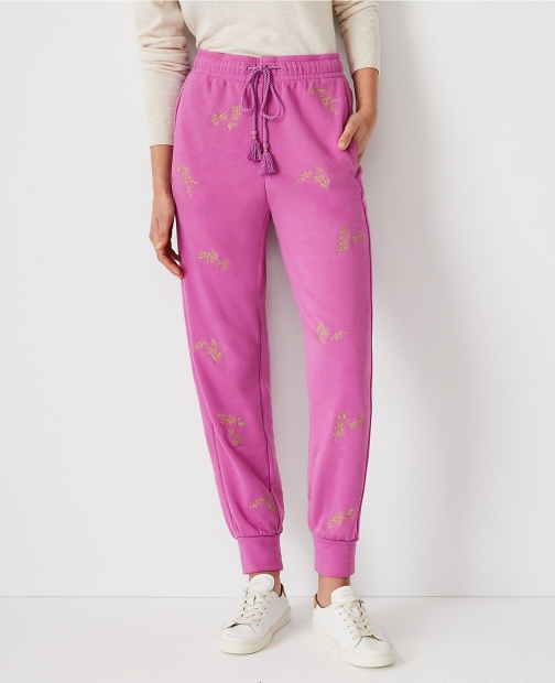 Ann Taylor The Petite Embroidered Pant Jogger