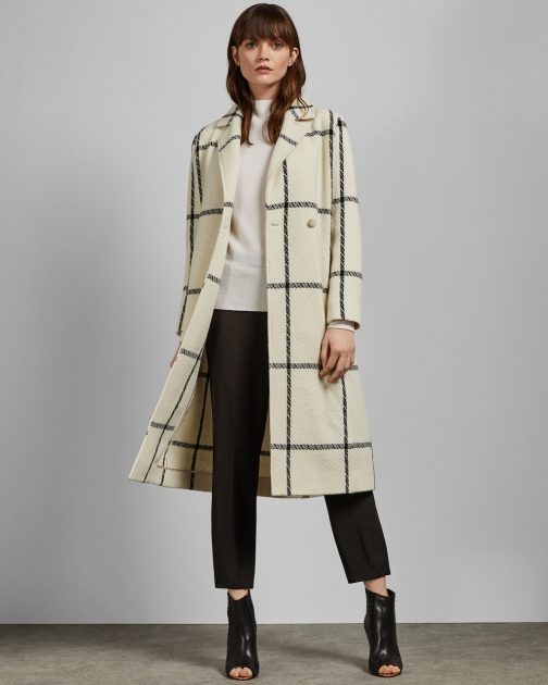 Ted Baker Checked Wool Long Coat Jacket