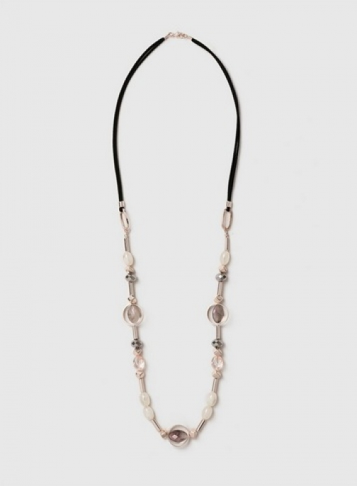 Dorothy Perkins Womens Pink Beaded Long - Grey, Grey Necklace