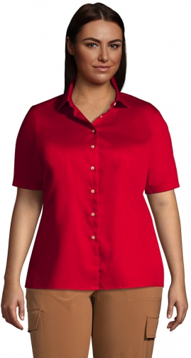Lands' End Women's Plus Size Short Sleeve Performance Twill - Lands' End - Red - 1X Shirt