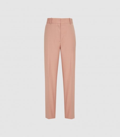 Reiss Anya - Wool-blend Straight Leg Trousers Pink, Womens, Size 14 Trouser