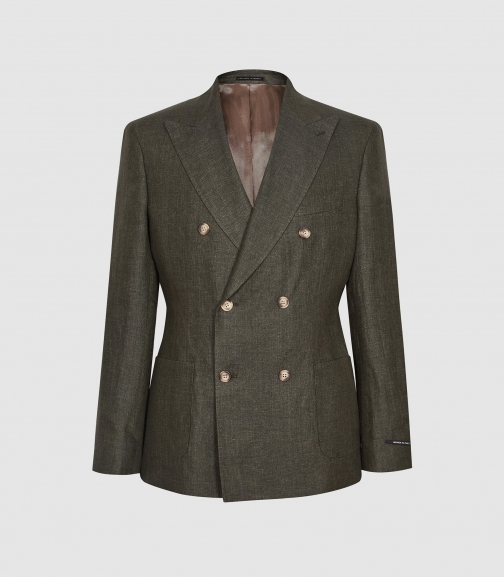 Reiss Shock - Linen Double Breasted Green, Mens, Size 36 Blazer