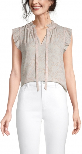 Ann Taylor Factory Petite Paisley Tie Neck Shell Top