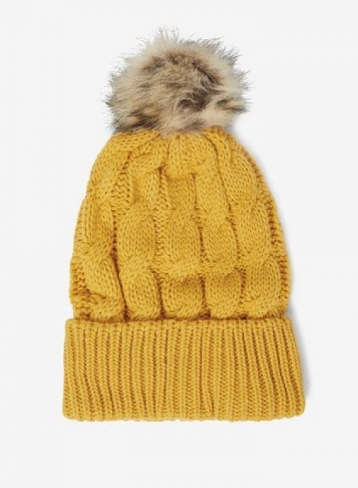 Dorothy Perkins Womens Mustard Cable Knit Pom Pom - Yellow, Yellow Hat