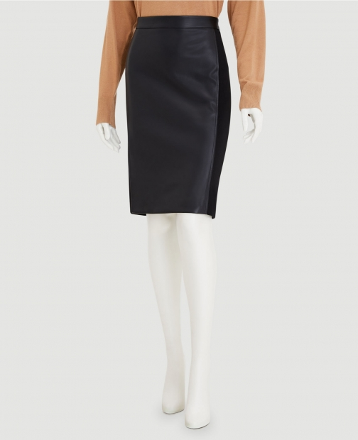 Ann Taylor Factory Faux Leather Paneled Ponte Pencil Skirt