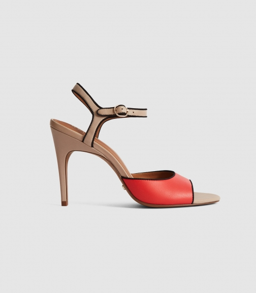 Reiss Margot - Colour Block Open Toe Red, Womens, Size 4 Sandals