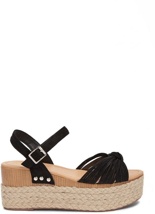 Forever21 Forever 21 Yoki Faux Suede Wedges , Black Espadrille