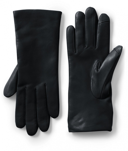Lands' End Women's EZ Touch Screen Cashmere Lined Leather - Lands' End - Black - S Glove