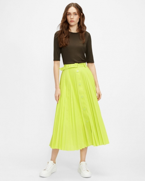 Ted Baker Pleated Button Down Midi Skirt