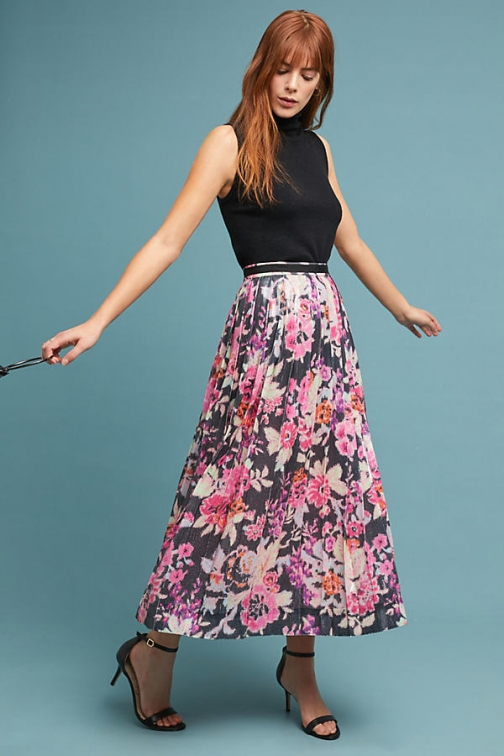 Anthropologie Pleated Sequin - Pink, Size Uk Skirt