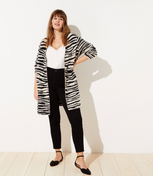 Loft Plus Zebra Print Open Cardigan