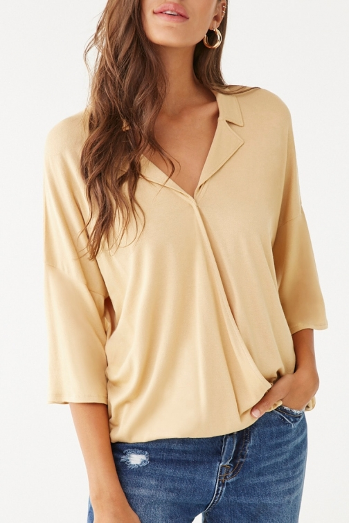 Forever21 Forever 21 Surplice Notched- Top , Light Yellow Collar