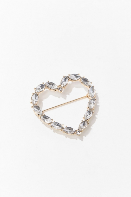 Forever21 Forever 21 Faux Gem Heart Cutout , Gold/clear Pin