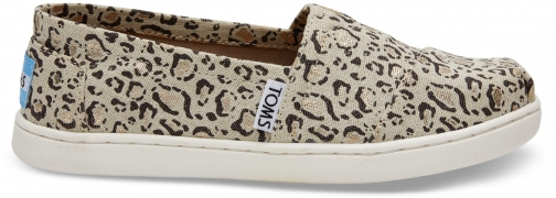 Toms Tan Bobcat Linen Youth Classics Slip-On Shoes