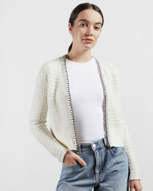 Ted Baker Boucle Style With Chain Detail Cardigan