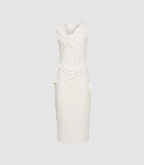 Reiss Alex - Ruched White, Womens, Size 4 Bodycon Dress