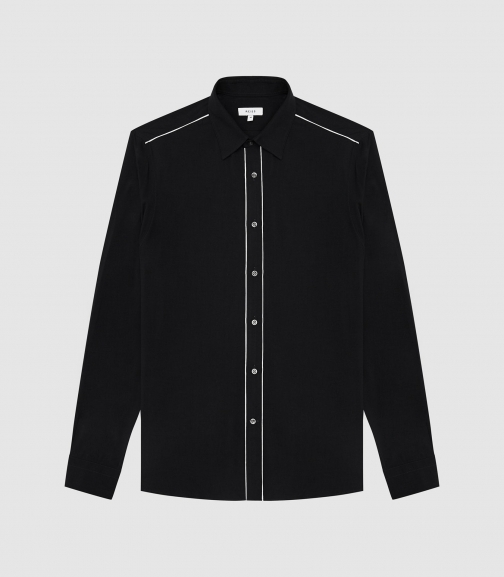 Reiss Calahan - Western Stitch Detail Black, Mens, Size XS Shirt