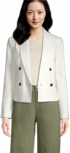 Ann Taylor Factory Crosshatch Double Breasted Blazer