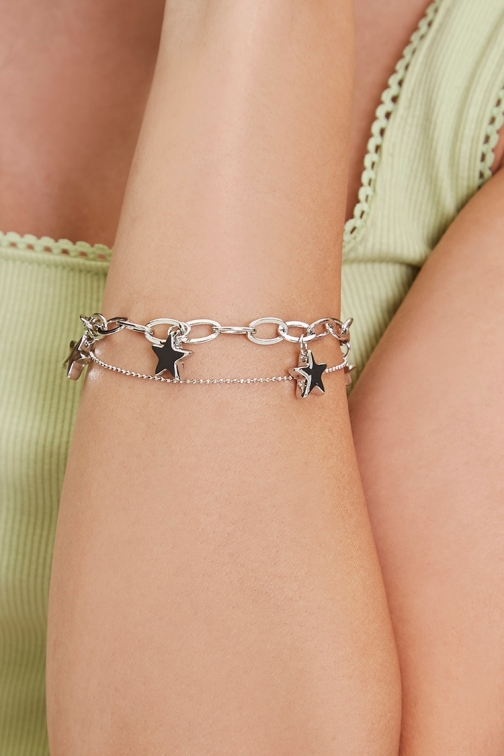 Forever21 Forever 21 Star Charm Layered , Grey Bracelet