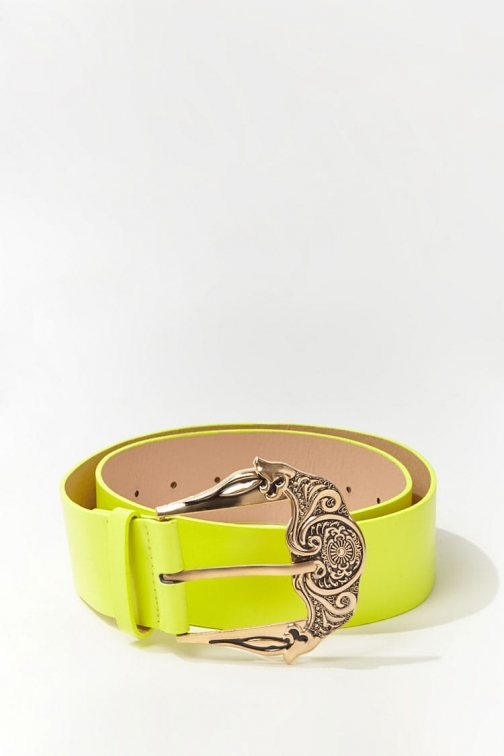 Forever21 Forever 21 Faux Leather Wide Waist , Neon Yellow Belt