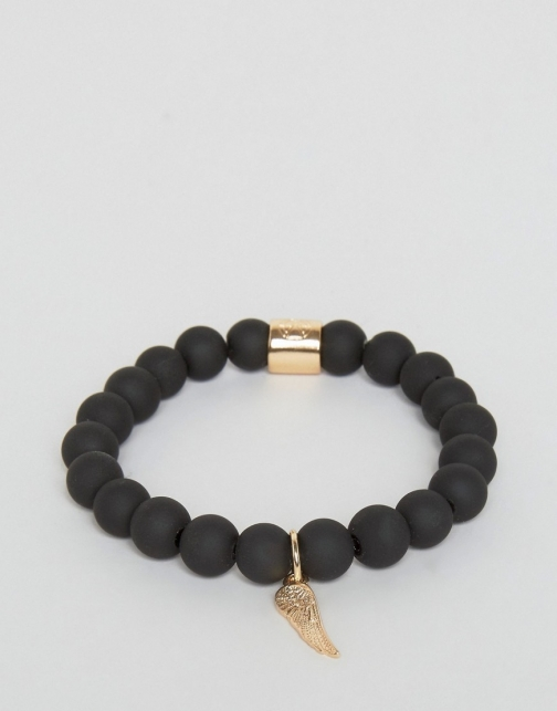 Asos Chained & Able Gold Hanging Wing Beaded Matte Black Bracelet