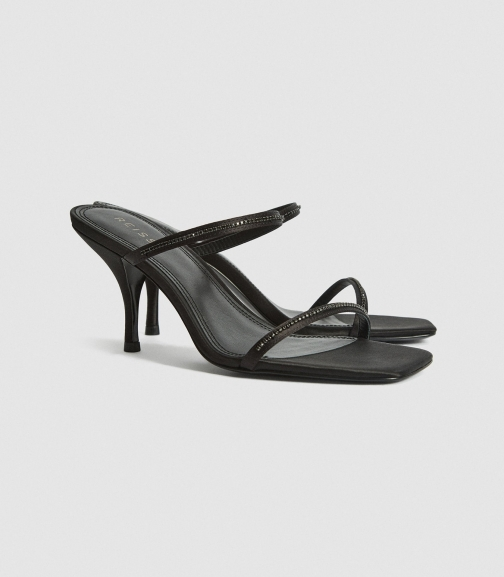 Reiss Magda Crystal - Embellished Strappy Black, Womens, Size 3 Heeled Sandals