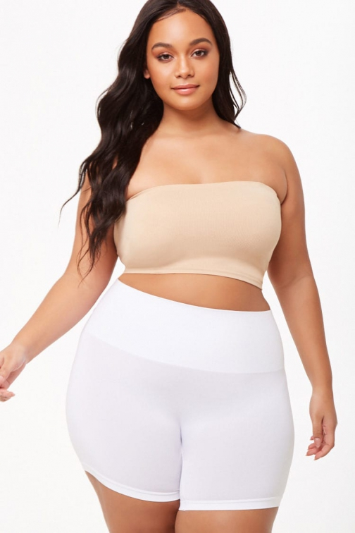 Forever21 Plus Forever 21 Plus Size Seamless Layering , White Short