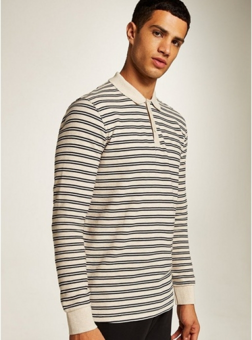 Selected Homme Mens Brown SELECTED HOMME Beige Stripe Organic Cotton , Brown Polo