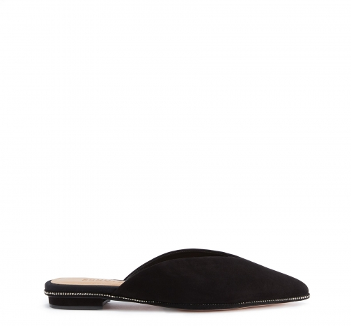 Schutz Shoes Mollie Flat Mule - 7.5 Black Nubuck Shoes