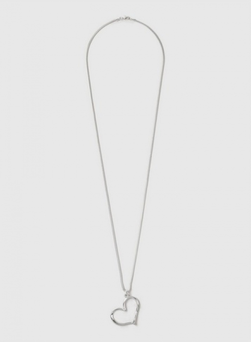 Dorothy Perkins Silver Heart Long Necklace