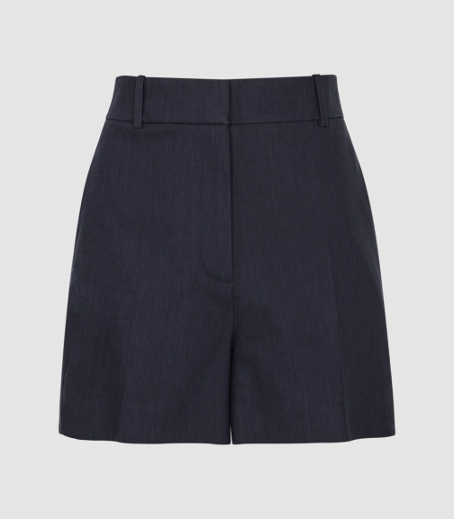 Reiss Belle - Linen Blend Tailored Indigo, Womens, Size 4 Short