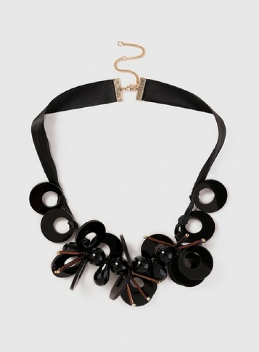 Dorothy Perkins Black Resin Disc Collar Necklace