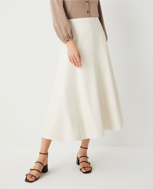 Ann Taylor Faux Leather Seamed Midi Skirt