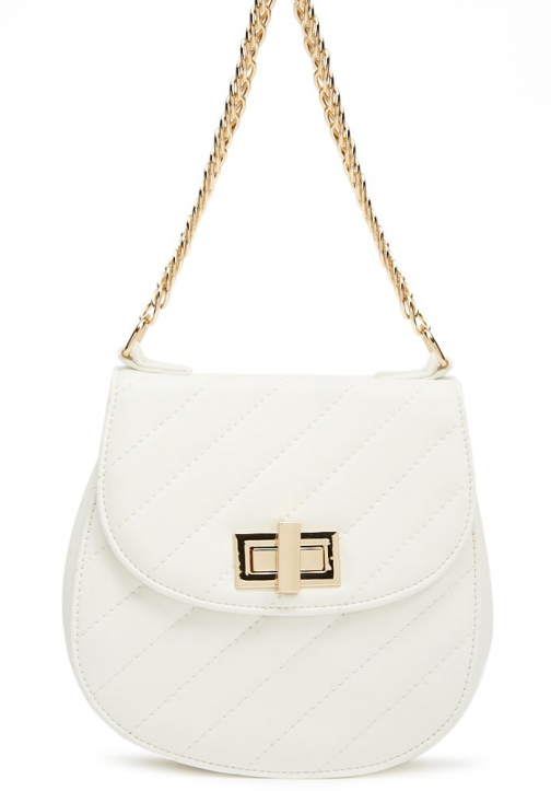 Forever21 Forever 21 Quilted Faux Leather Cream Shoulder Bag