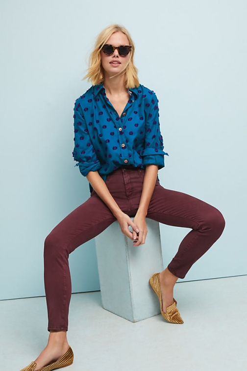 Anthropologie AG The Abbey Sateen Mid-Rise Skinny Ankle - Purple, Size Jeans