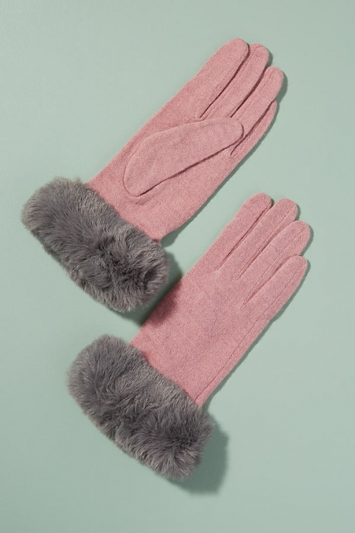 Anthropologie Faux-Fur Trimmed Wool Glove