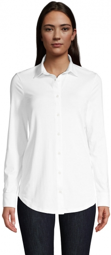 Lands' End Women's Lightweight Long Roll Tab Sleeve Button Down - Lands' End - White - XS Tunic Top