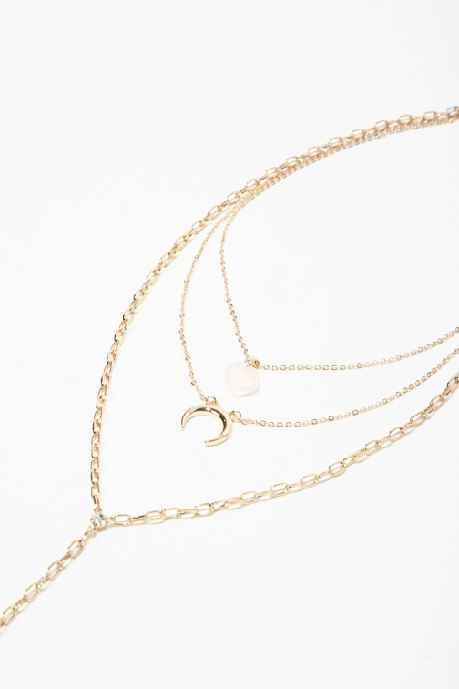 Forever21 Forever 21 Layered Pendant Drop , Gold Necklace