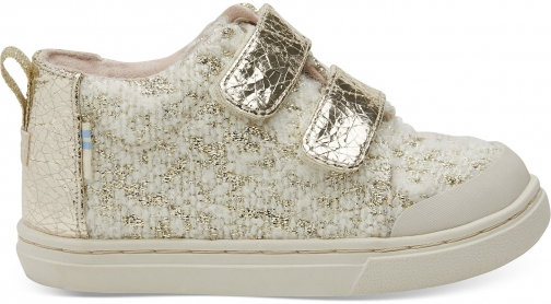 Toms White Slub Holiday Tiny TOMS Lenny Mid Sneakers Shoes