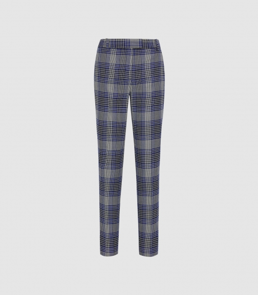 Reiss Josie Trouser - Checked Blue Check, Womens, Size 4 Tailored Trouser